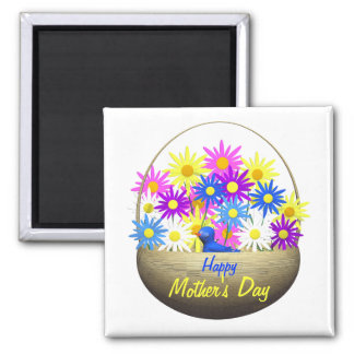 Happy Mothers Day Basket of Daisies and Blue Bird Square Magnet