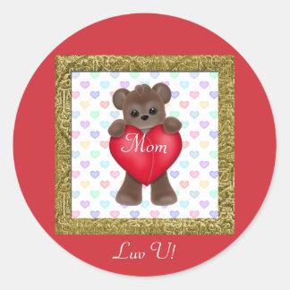 Happy Mother's Day Bears Round Sticker