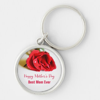 Happy Mother's Day Best Mom Ever + Single Red Rose Keychain
