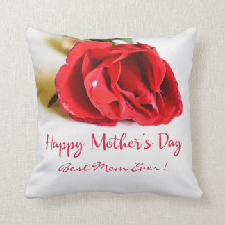 Happy Mother's Day Best Mom Ever + Single Red Rose Throw Pillow