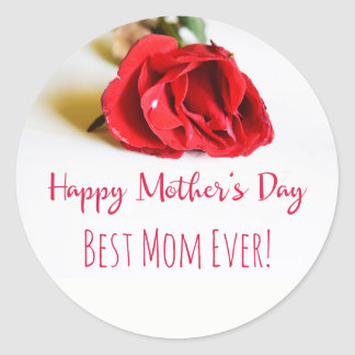 Happy Mother's Day Best Mom with a Single Red Rose Classic Round Sticker