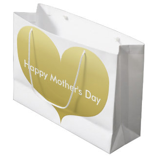 Happy Mother's Day   Big Gold Heart Gift Bag