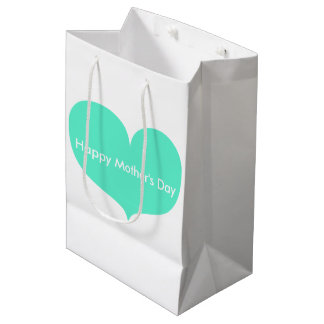 Happy Mother's Day   Big Teal Heart Gift Bag