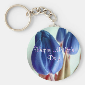 Happy Mother's Day Blue Tulips Basic Round Button Keychain