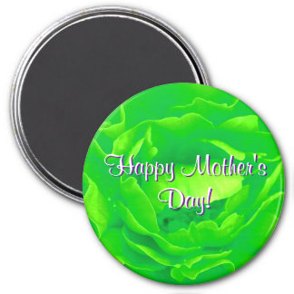 Happy Mother's Day Bright Green Rose Refrigerator Magnets
