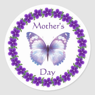 Happy Mother's Day Butterfly Classic Round Sticker