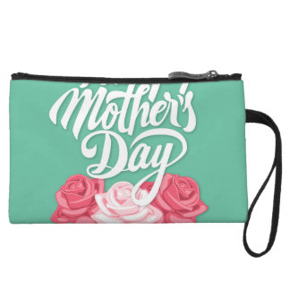 Happy Mother's Day calligraphy with roses Wristlet