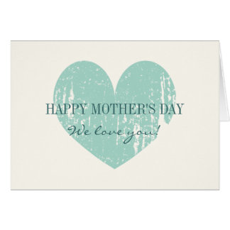 Happy Mothers Day card with vintage teal heart