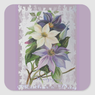 Happy Mother's Day Clematis Square Sticker