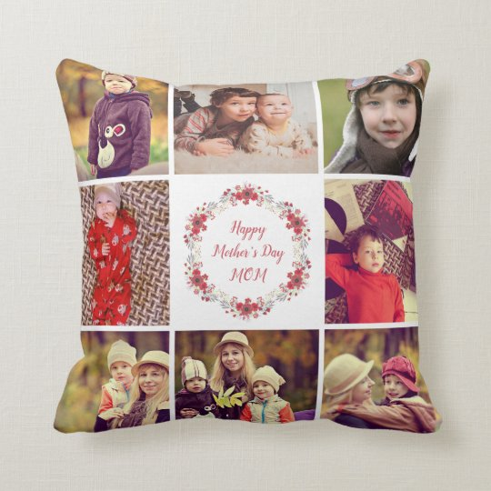 Happy Mother's Day Custom Photo Collage Pillow