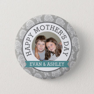 Happy Mother's Day - Custom Photo Template damask 2 Inch Round Button