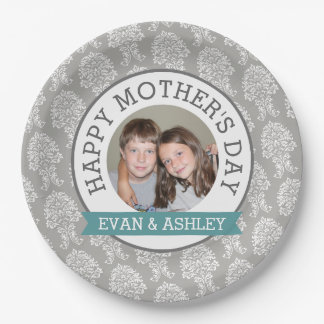 Happy Mother's Day - Custom Photo Template damask Paper Plate