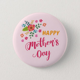 """""""Happy Mother's Day"""" Cute Floral Pink Illustration 2 Inch Round Button"""