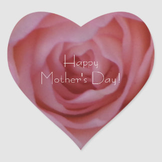 Happy Mother's Day Elegant Pink Red Rose Floral Heart Sticker