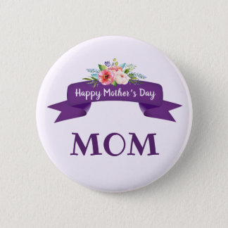 Happy Mother's Day Floral on Purple Ribbon Gift 2 Inch Round Button