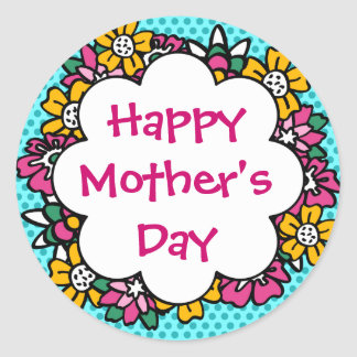 Happy Mother's Day Flowers Classic Round Sticker