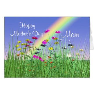 Happy Mothers Day for Mom Spring Flowers Greeting Card