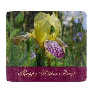 Happy Mothers Day! glass cutting board Iris Flower