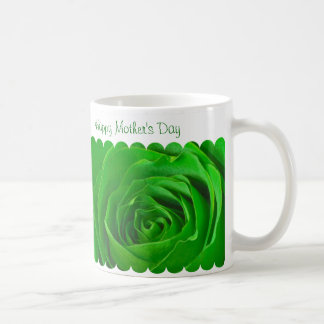 Happy Mother's Day Green Rose Center Coffee Mug