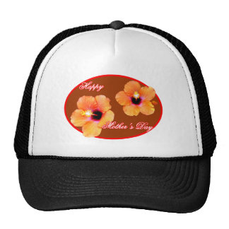 Happy Mother's Day Hibiscus Brown Red Oval The MUS Trucker Hat