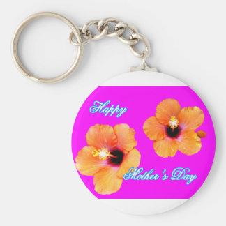 Happy Mother's Day Hibiscus Orange Magenta jGibney Basic Round Button Keychain