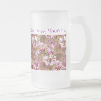 """Happy Mother's Day""  Lilacs Flower Pic for Mom Frosted Glass Beer Mug"