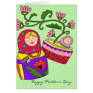 Happy Mother's Day Matryoshka Ukrainian Folk Art Card