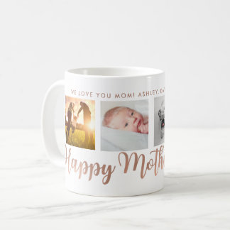 Happy Mother's Day Mom Faux Rose Gold Photo Grid Coffee Mug