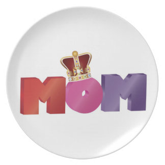Happy Mother's Day MOM with Jewel Crown Plate
