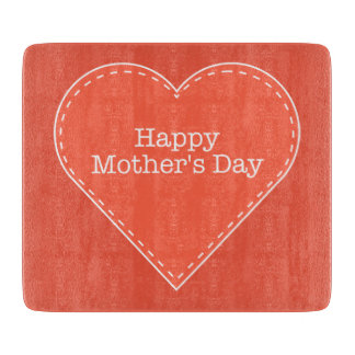 Happy Mother's Day Orange Heart Cutting Boards