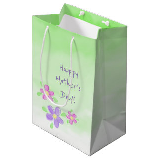 Happy Mother's Day Pastel Flowers on Green Medium Gift Bag