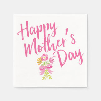 Happy Mother's Day Pink Flowers Bouquet Gift Disposable Napkins