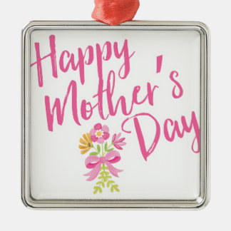 Happy Mother's Day Pink Flowers Bouquet Gift Metal Ornament