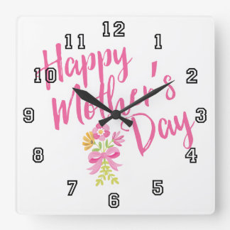 Happy Mother's Day Pink Flowers Bouquet Gift Square Wall Clock
