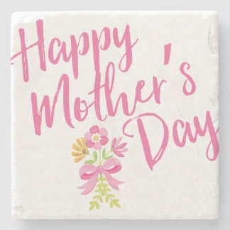 Happy Mother's Day Pink Flowers Bouquet Gift Stone Coaster