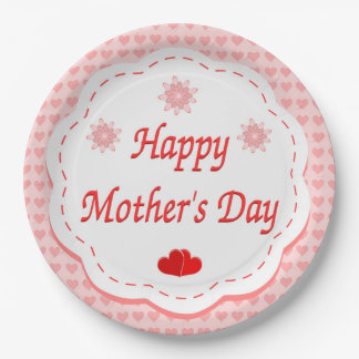 """""""HAPPY MOTHER'S DAY """" PINK HEARTS PAPER PLATE"""