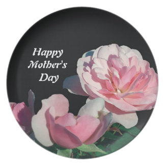 Happy mother's day pink rose flowers party plate