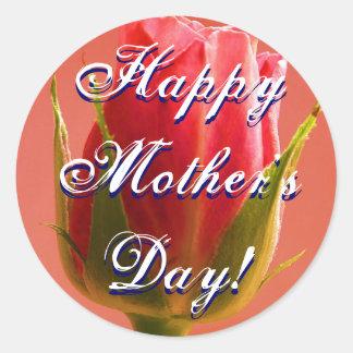 Happy Mother's Day Pink Rose Round Sticker