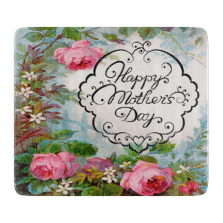 Happy Mother's Day Pink Roses Cutting Board