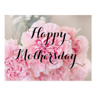Happy Mothers day Powder Pink Flower Postcard