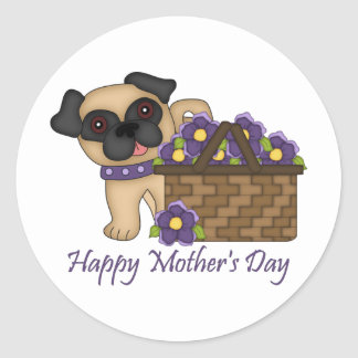 Happy Mother's Day Purple Flower Basket Pug Classic Round Sticker