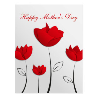 Happy Mother's Day Red Flowers Postcard