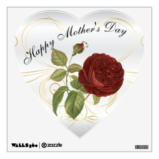 Happy Mother's Day Red Rose Wall Decal