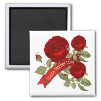 Happy Mother's Day Red Roses Square Magnet