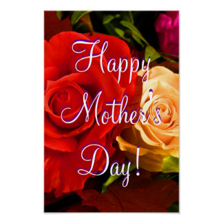 Happy Mother's Day Red Yellow Rose Posters
