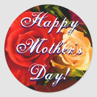 Happy Mother's Day Red Yellow Rose Round Sticker