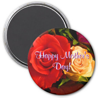 Happy Mother's Day Red Yellow Roses Refrigerator Magnet