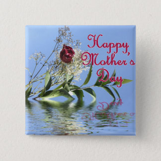 Happy Mothers Day Rosy Reflection 2 Inch Square Button