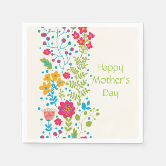 Happy Mother's Day Spring Flowers Paper Napkin