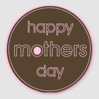 Happy Mother's Day Stickers - Brown & Pink Design